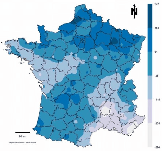 carte france précipitations yara france