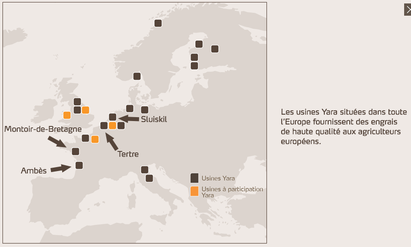 Les usines Yara en Europe